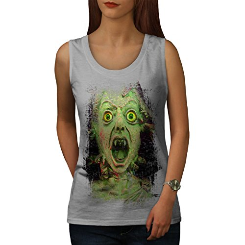 Kind Toter Mann Gruselig Zombie Tot Gesicht Damen S-2XL Muskelshirt |  Wellcoda Grau