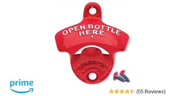 Rot Starr-X Flaschenöffner zur Wandmontage Open Bottle Here