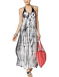 a582bb2a39 RAVIYA Women's Tie-Dyed Lattice-Back Maxi Swim Dress Cover-Up (M