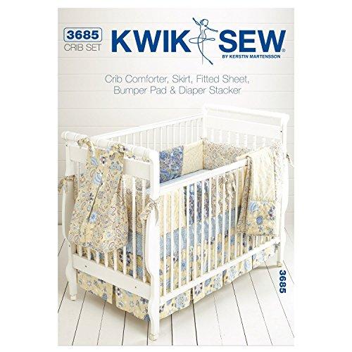 Kwik Sew Mustern K3685Größe für Babybettchen á 28x-52Kinderbett Tröster/Rock/Spannbettlaken/Bumper Pad und Windel Stacker, weiß, 1Stück