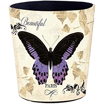 10L Waste Paper Basket for Bedroom OVERWELL Waterproof Waste Paper Bin Vintage Butterfly and Flower Kitchen and Office 26 x 20 x 26cm