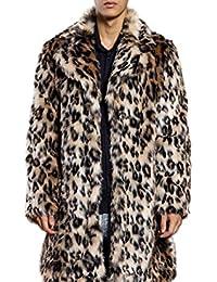 c842f660fb71 Pelzmantel Kunst Felljacke Herren Leopard Muster Design,AKAUFENG  Winterjacke Mantel Kunstpelz lange Jacke Faux Fur