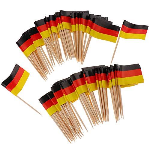 Xiton 100Pcs Mini Flag Zahnstocher Deutschland Flagge Kuchen Auswahl Internationale Events Cocktail-Stock-Flagge Obst Lebensmittel Auswahl - Deutschland-kuchen