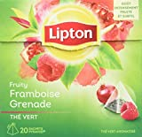 Lipton Thé Vert Framboise & Grenade, Label Rainforest Alliance 120 Sachets (Lot de 6x20 Sachets)