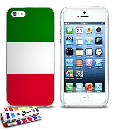 Ultraflache weiche Schutzhülle APPLE IPHONE 5S / IPHONE SE [Italien-Flagge] [Schwarz] von MUZZANO + STIFT und MICROFASERTUCH MUZZANO® GRATIS - Das ULTIMATIVE, ELEGANTE UND LANGLEBIGE Schutz-Case für I Durchsichtig