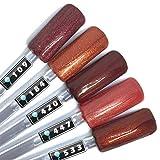 Color Gel 5er Set (je 5ml): Terracotta Glitter - Gel Terracotta, Gel Braun, Gel rotbraun, Gel Dunkelbraun