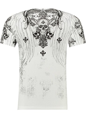BlackRock Herren T-Shirt Slim-Fit Totenkopf Skull Bones Adler Elasthan 71308 - GRAY