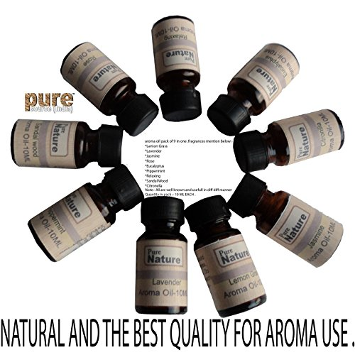 Pure Source India Good quality 9 In one aroma oil pack (Lemon Grass , Lavender , Jasmine , Rose , Citronella , Eucalyptus, Peppermint ,Sandal Wood , Relaxing 10 ML each )