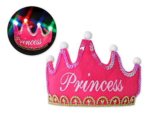 Shopready LED Prinzessin Krone Hut Leuchten Partyhüte für Kinder Erwachsene - Rosa -