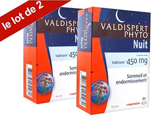 Valdispert Phyto - Nuit - Valériane 450 mg - Complément Alimentaire à base de Plantes Pour le Sommeil - lot de 2 Boites de 40 Comprimés