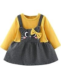 Logobeing Ropa Bebe Niña Manga Larga Arco de Dibujos Animados Gato  Impresión Fiesta Princesa Vestido Tops 3a4afa9b32c