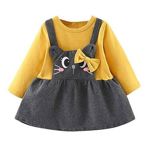 Webla Kinder Langarm Cartoon Katze Drucken Prinzessin Kleid Baby Mädchen Fliege Gefälschte Zwei Rock (6-24 Monate) (12-18 Monate, Gelb)