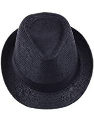 V-SOL Sombrero Negro Paja De Lino Verano Playa Gorro Para Mujer Hombre Unisex