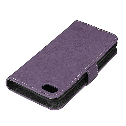 Frosted Style Premium PU Leder Brieftasche Beutel Horizontale Flip Stand Folio Cover Case mit 9 Card Cash Slot & Magnetic Buckle für iPhone 7 ( Color : Green ) Purple