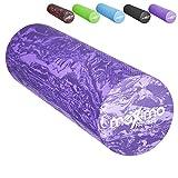 RODILLO DE ESPUMA - EVA - Rodillo de Espuma, 15cm * 45cm, Peso ligero - Proporciona un masaje muscular firme pero cómodo - Guía de Inicio Rápido - Perfecto para Gimnasia, Pilates, Yoga - ¡Garantía de por vida! (Purple/Dark Purple)