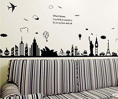(Dalxsh Neue ModerneEntfernbare WandaufkleberGroße Schwarze Eiffelturm Sydney Griechische Stadt Für Wohnzimmer Schlafzimmer Dekoration60X90 Cm)