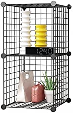 House of Quirk Stainless Steel Storage Organizer, Black (2CUBE_Iron_CAB)