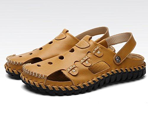 Sommer Herren Italien Stil Geschlossene Zehen Handwerk Hohl Atmungsaktive Rückknopfband Lässige Gummi Sohle Anti-Rutsch Strand Sandalen Khaki