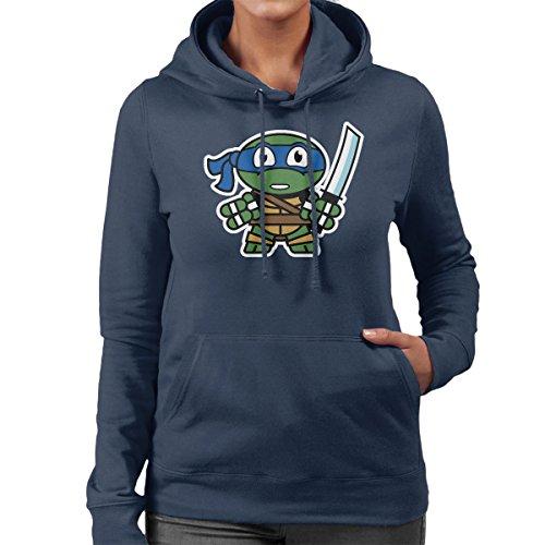 Mitesized Leonardo Teenage Mutant Ninja Turtles Women's Hooded Sweatshirt Navy Blue