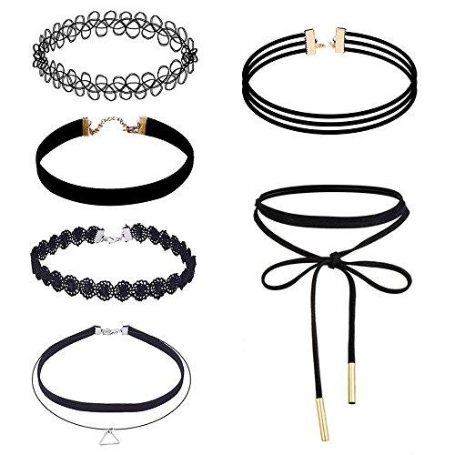Preisvergleich Produktbild Tonsee 6 Stück Halskette Set Stretch samt klassische gotische Tattoo Spitze Choker
