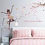 Ouneed Wandaufkleber Wandtattoo Wandsticker , 2017 Blumen-Fee DIY kleine Engels-Fee-Aufkleber-Schlafzimmer-Wohnzimmer-Wände (A)