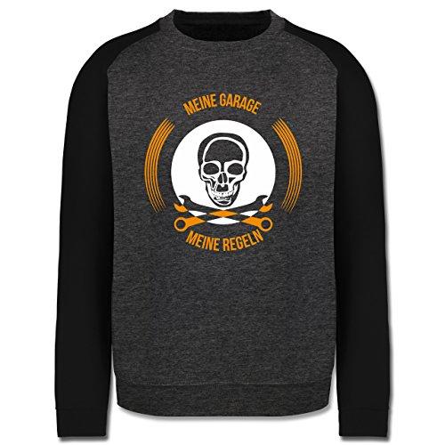 Statement Shirts - Meine Garage meine Regeln - Herren Baseball Pullover Dunkelgrau Meliert/Schwarz