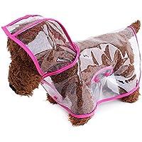 suyi transparente animal doméstico del perro del impermeable impermeable con capucha cubierta de la lluvia capas de las chaquetas, de tamaño mediano del perrito admiten ropa impermeable al aire libre XS S M L