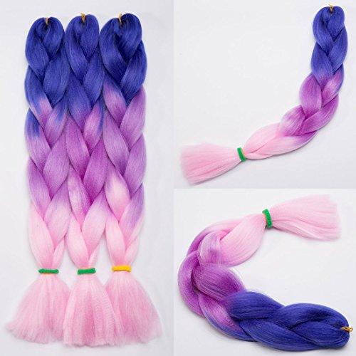 Haarverlängerung 60cm Crochet Braids Two Tone Ombre Braiding Haar Synthetik Braid 5 Pcs /500g - Dunkelblau bis hellpurpur bis hellrosa