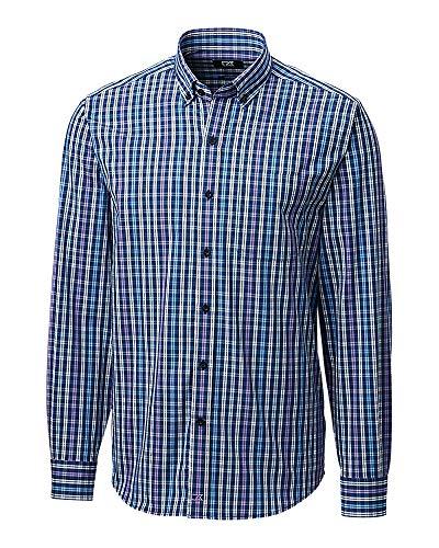 Cutter & Buck Herren Long Sleeve Anchor Double Check Plaid Up Shirt Button Down Hemd, Majestic, 3X-Groß -