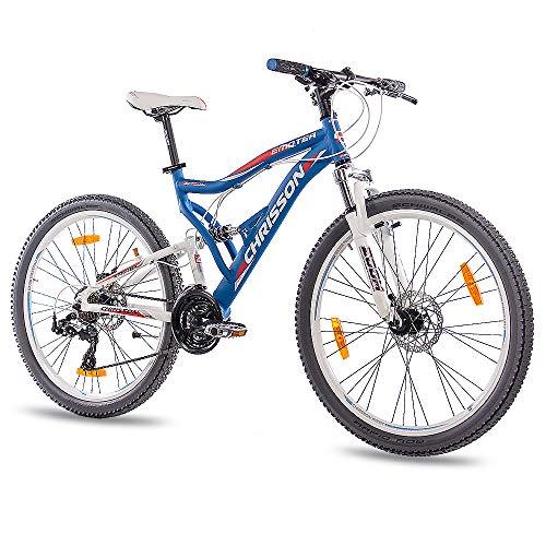 CHRISSON 26 Zoll Mountainbike Fully - Emoter blau - Vollfederung Mountain Bike mit 21 Gang Shimano Tourney Kettenschaltung - MTB Fahrrad für Herren und Damen mit Zoom Federgabel -
