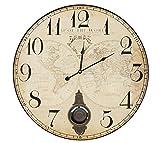 Grosse Wanduhr mit Pendel Atlas Weltkarte Antik-Stil 58cm