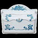 Luxus Pur UG Gusseisen Briefkasten Weiß Blau Postkasten im Landhausstil Antiklook Design