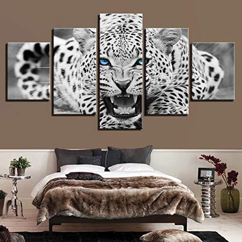 Wieoc Wandkunst Hd Drucke Bilder Rahmen 5 Stücke Blaue Augen Leopard Tiger Leinwand Gemälde Wohnkultur Schwarz Und Weiß Tier Poster-80X150Cm