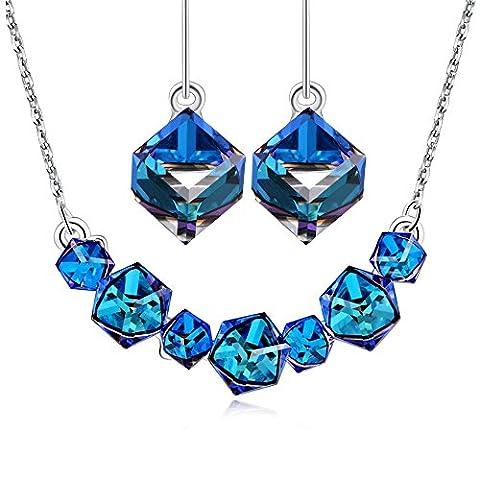 Bleu Bijoux de Mariée Ensemble PLATO H Femmes avec Cubique Pendentif Boucles D