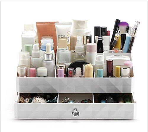 Boîte de rangement pour cosmétiques ou pour bijoux en plastique avec tiroirs, ABS, blanc, 30*19*12cm