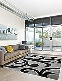 Moderner Designer Teppich Wohnzimmer Kurzflor Meliert 3D Konturenschnitt - 160x230 cm - schadstofffrei - Grau Schwarz