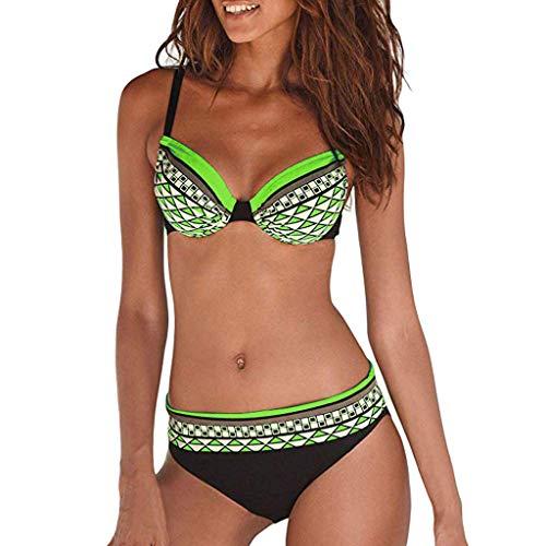 Riou Sexy Bikini Damen Set Push Up High Waist Zweiteilige Bikinis Oberteil Frau Sommer Sportlich Kleine Brüste Cups Grosse Grössen Bademode Tankinis mit Bügel für Beach Monokini (Green C, L)