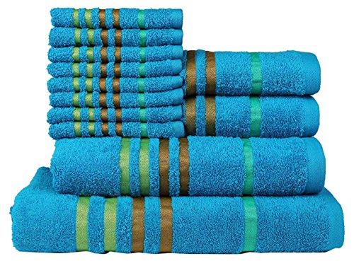 Casa Copenhagen Exotic Kollektion 475 g/m² Baumwolle 12 teiliges Badetüch, Handtüch und Seiftücher Set, Teal Blau