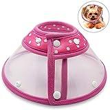 chien chat vétérinaire col de récupération élisabéthain avec bord doux (pour les chiens et chats) - rose S #