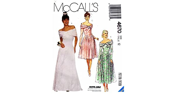 8df4133166fe McCall s 4670 Sewing Pattern Misses Off Shoulder Gown Dress Size 12 Bust 34   Amazon.co.uk  Kitchen   Home