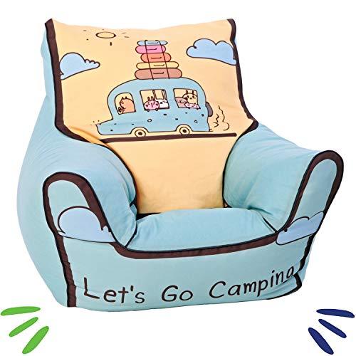 Delsit Kindersitzsack Kinder Sitzsack Spielzimmer Kindersessel für Jungen und Mädchen Camping, blau