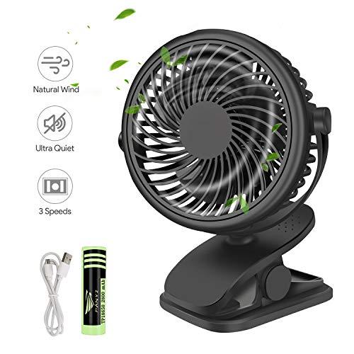 Qhui Mini USB Ventilator, Tragbarer Clip Tischventilator mit 2800mAh Wiederaufladbare Batterie, 3 Geschwindigkeitsstufen, 360° Drehung Leise Tischventilatoren Klein für Schlafzimmer, Büro, Kinderwagen