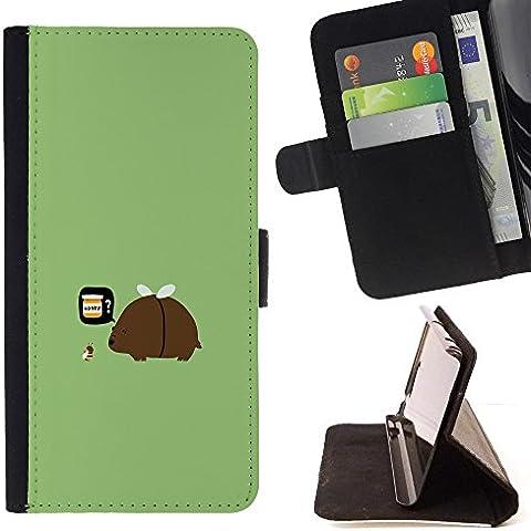 For Motorola Moto E ( 1st Generation ) Case , Funny Bee Miel- la tarjeta de Crédito Slots PU Funda de cuero Monedero caso cubierta de piel