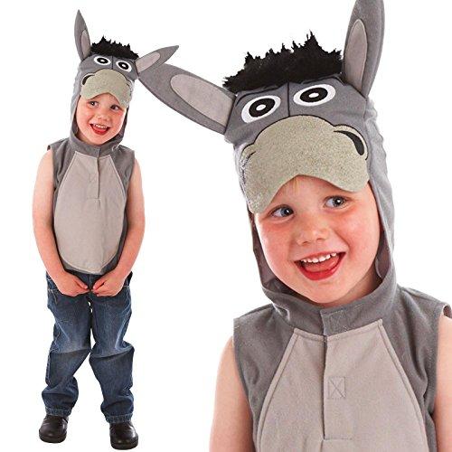 3-5 Jahre Esel Krippe Play Kinder Kostüm Kostüme Boy Girl Figur Wappenrock, der Ohren und Kapuze