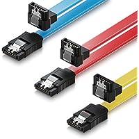 deleyCON MK1585 S-ATA 3 Kabel SATA 3 HDD SSD Datenkabel 6 GBit/s - 1x gerade zu 90° - 3 Stück a 50cm - Gelb/Rot/Blau