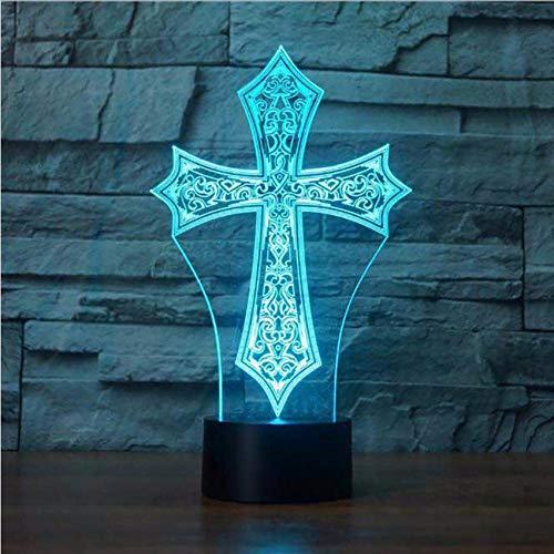 (ganjue 7 Bunte Nachttischlampe Christus Kreuz Form Leuchte 3D Religiöse Kultur Nachtlichter Geschenke Hause Schlaf Beleuchtung Dekor)