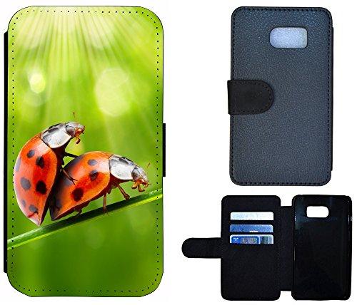 Flip Cover Schutz Hülle Handy Tasche Etui Case für (Apple iPhone 4 / 4s, 1163 Abstract Hell Blau Grau) 1158 Marienkäfer Orange Grün