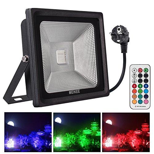 MK 50w RGB proyector LED de 4 modos, 50w Foco led exterior RGB de 16 colores con control remoto impermeable IP66, rgb luz led de escenario con 16 colores de decoración de exterior o interior para fiestas, navidad, patio, jardín