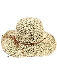Crystallly Cappello di Paglia Cappello Solare Sole Protezione da Pieghevole  da Stile Semplice Uomo Cappello Ampio A Tesa Larga da Sole… b5631cf06053