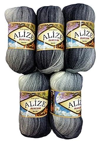 5 x 100 Gramm Alize Burcum Batik Wolle schwarz grau weiß mit Farbverlauf, Nr. 1900, 500 Gramm